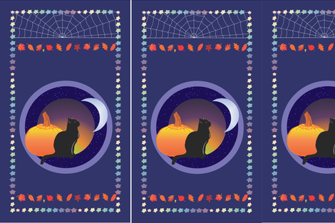Cat and the Moon - Panels fabric by magicinyourlivingroom on Spoonflower - custom fabric