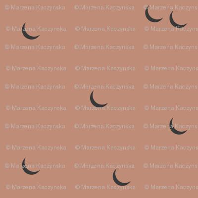 Moon - half moon terracotta red clay night