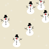snowmen - pale yellow winter holiday