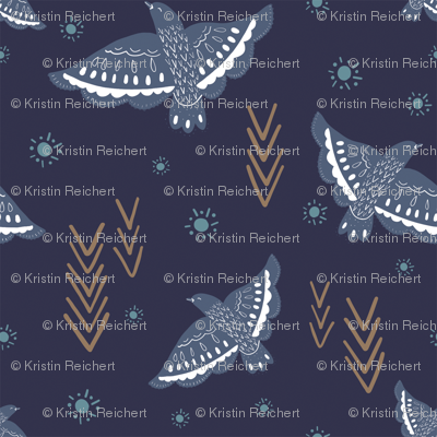 Navy Birds Aztec Arrows