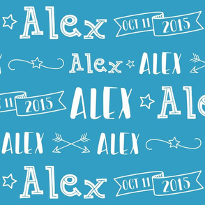 Boys Personalized Name and Birthdate Baby Fabric