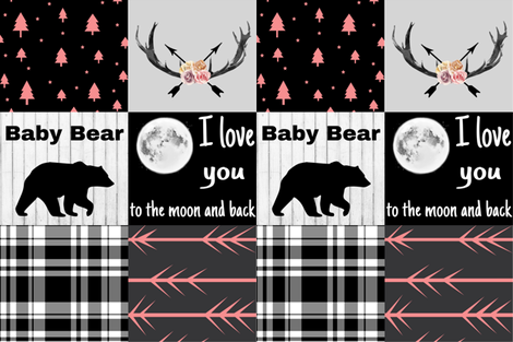 Love you to the moon - floral antlers - corals fabric by moonsheets on Spoonflower - custom fabric