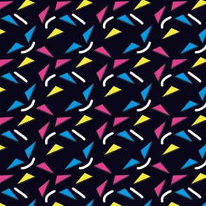 Memphis Style Colorful Neon Triangles on Black Upholstery Fabric (smaller)