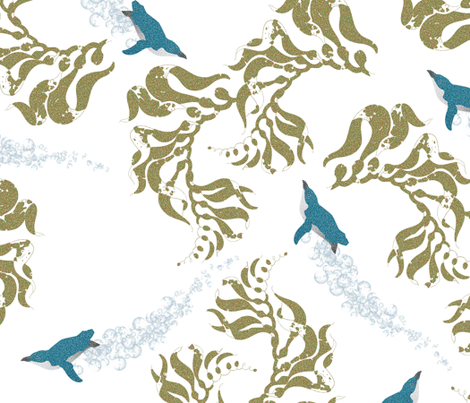 Little Blue Penguins  & Kelp fabric by plumbilly on Spoonflower - custom fabric