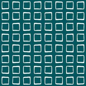 Dark Teal Green Rustic Squares