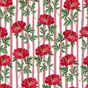 Red Bloom Stripes // Vertical