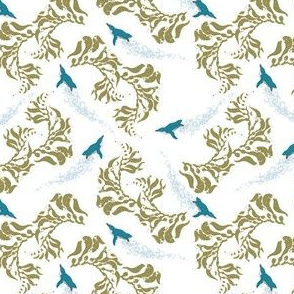 Little Blue Penguins in Kelp (Small Pattern)