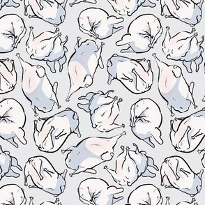 900dpi French Bulldogs Faux Floral