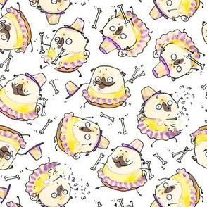 "2"" Baton Twirling pug - white"