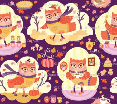 Busy Autumn Owls in Aubergine