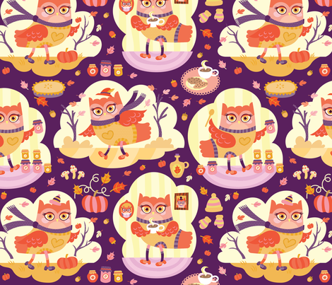 Busy Autumn Owls in Aubergine fabric by pinkowlet on Spoonflower - custom fabric