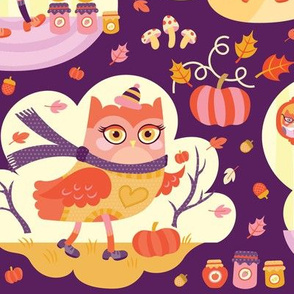 Busy Autumn Owls in Aubergine