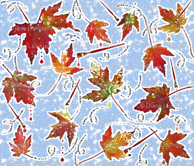 Autumn foliage stamping and paintbrushes