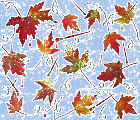 Autumn foliage stamping and paintbrushes fabric by zsmama on Spoonflower - custom fabric