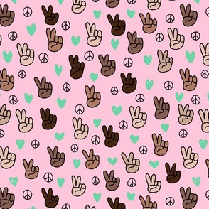 Pop culture memphis series hand on peace and love pink