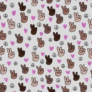 Pop culture memphis series hand on peace and love gray lilac