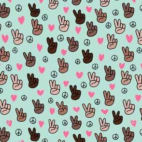 Pop culture memphis series hand on peace and love mint pink