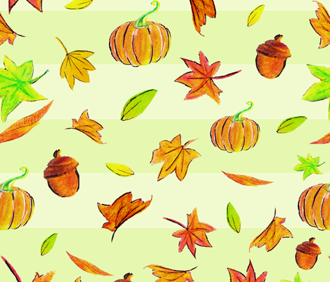 Falling pumpkins, leaves and nuts! fabric by repterns on Spoonflower - custom fabric