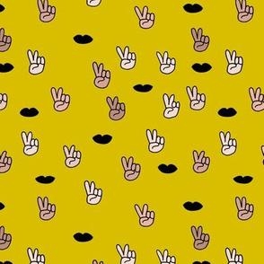Rainbow love and peace sign illustration print mustard yellow
