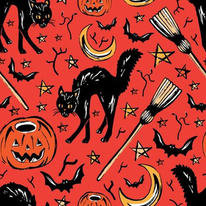 Vintage halloween on red