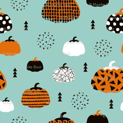 Sweet fall inky texture pumpkin garden halloween print blue orange