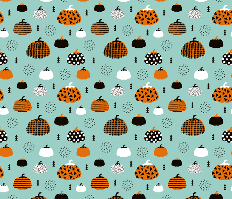 Sweet fall inky texture pumpkin garden halloween print blue orange fabric by littlesmilemakers on Spoonflower - custom fabric