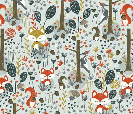 Rustic Woodland Animals fabric by melarmstrongdesign on Spoonflower - custom fabric
