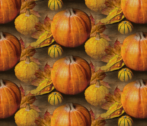 Pumpkins Gourds on Burlap fabric by linda_baysinger_peck on Spoonflower - custom fabric