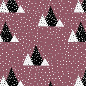 Snow fall winter wonderland triangle mountains abstract christmas print cherry