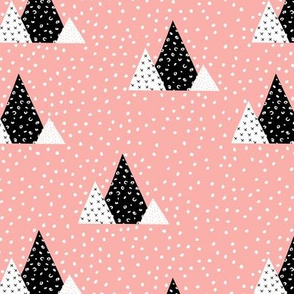 Snow fall winter wonderland triangle mountains abstract christmas print pink