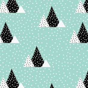 Snow fall winter wonderland triangle mountains abstract christmas print mint