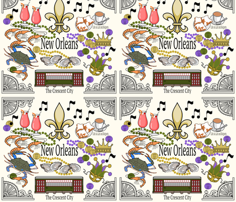 New Orleans Medley in Cream fabric by rose_mary on Spoonflower - custom fabric