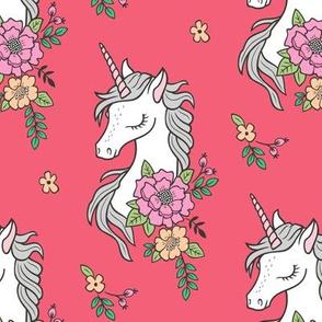 Dreamy Unicorn & Vintage Boho Flowers on Red