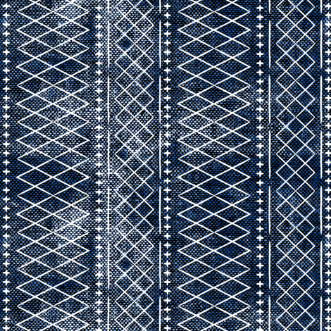 flint vintage moroccan (small scale) on blue fabric by littlearrowdesign on Spoonflower - custom fabric