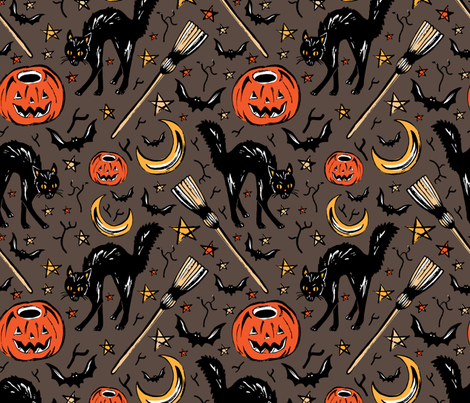 Vintage halloween on grey fabric by marta_strausa on Spoonflower - custom fabric