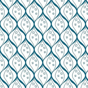 Ogee Teal and White Upholstery Fabric