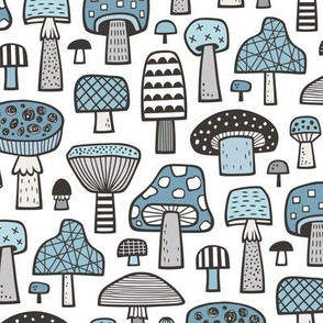 Mushrooms Geometric Fall Autumn Blue Denim on White