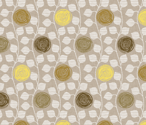 Modern Vines in Tan fabric by pattern_pod on Spoonflower - custom fabric