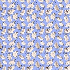Leaping Pugs - deep blue