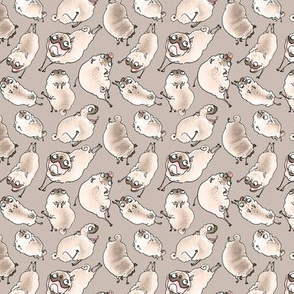 """1-2"""" Happy Pugs - taupe"""