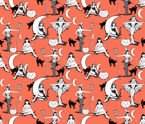 Vintage Halloween pinups in pumpkin orange fabric by beesocks on Spoonflower - custom fabric