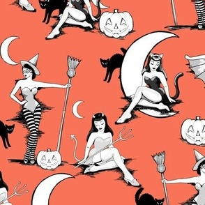 Vintage Halloween pinups in pumpkin orange