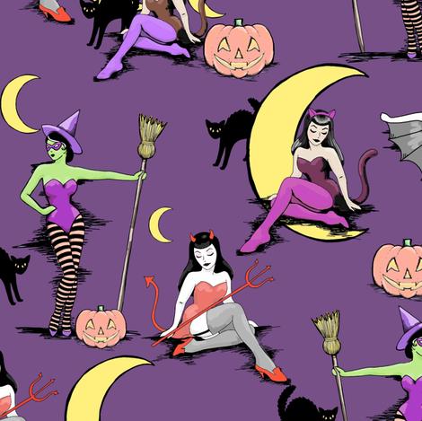 Retro Halloween pinups in muted purple fabric by beesocks on Spoonflower - custom fabric