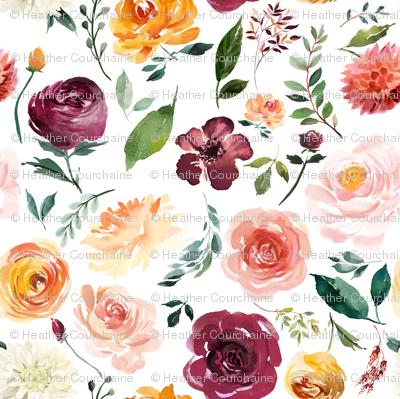 "8"" Floral Leaves Autumn Watercolor"