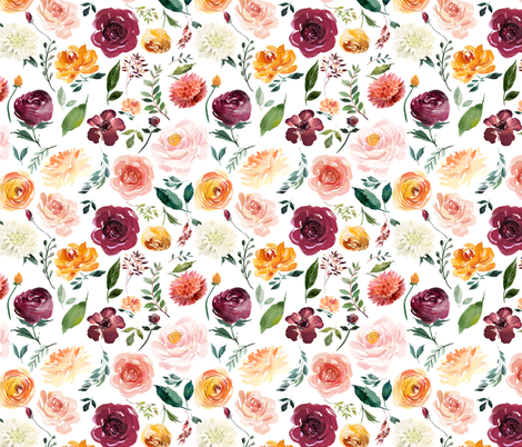 """8"""" Floral Leaves Autumn Watercolor fabric by greenmountainfabric on Spoonflower - custom fabric"""