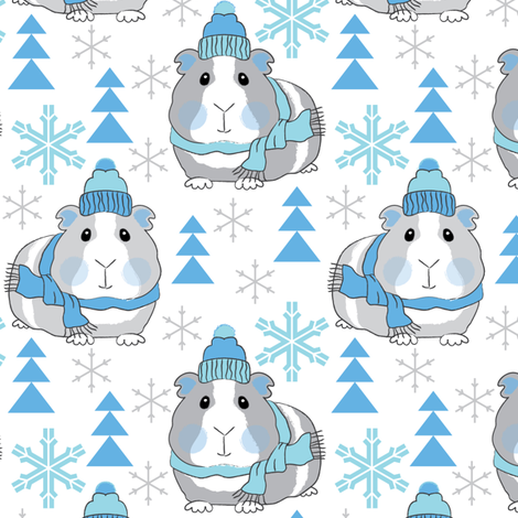 winter guinea pigs fabric by lilcubby on Spoonflower - custom fabric