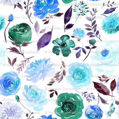 """6"""" Blue Watercolor Floral"""