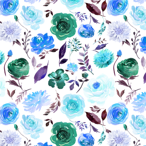 """6"""" Blue Watercolor Floral fabric by greenmountainfabric on Spoonflower - custom fabric"""