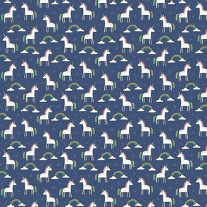 Cute Unicorn Rainbow on Navy Blue Tiny Small