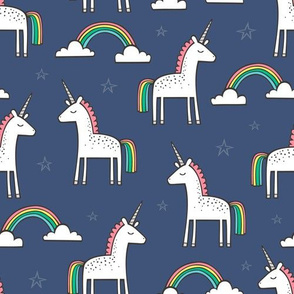 Cute Unicorn Rainbow on Navy Blue